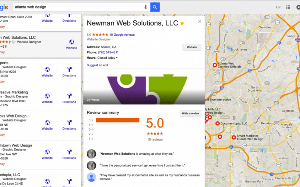 Screenshot of Newman Web Solutions Digital Marketing Agency on GMB Google My Business