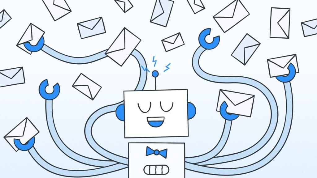 Graphic of a lead magnet robot holding emails